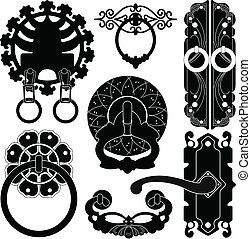 古董, 古老, 老, handl, 鎖, 門