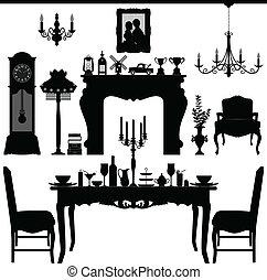 古董, 吃晚飯, 老, 家具