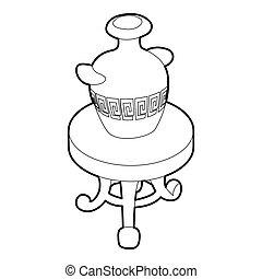 古董, 咖啡, 花瓶, 桌子, 輪, 圖象