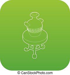 古董, 咖啡, 花瓶, 矢量, 綠色的桌子, 輪, 圖象