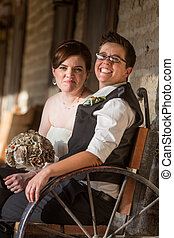 古董, 夫婦, newlywed, 長凳