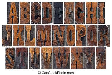 古董, 字母表, 木頭, 類型