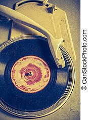古董, 抓, 留聲機, 老, vinyls