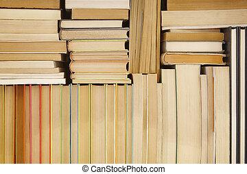 古董, 支架。, 堆積, 閱讀, 儲存, 書, 背景