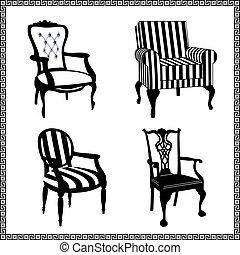 古董, 椅子, 黑色半面畫像, 集合
