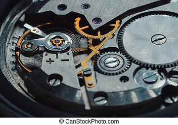 古董, 焦點。, 宏, 老, 打開, 鐘, 葡萄酒, 工作, clockwork, 機制, 懷錶, 去, 人物面部影像逼真, fast., 時間, gears., 射擊, 軟