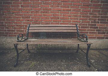 古董, 牆, 磚, 紅色, 長凳