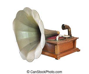 古董, 留聲機, 孤立, 白色