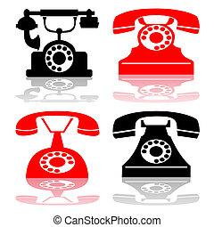 古董, 矢量, 電話, 彙整