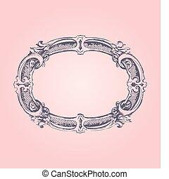古董, 粉紅色, 框架