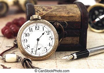 古董, 裝飾, 鐘, 口袋, 對象, retro