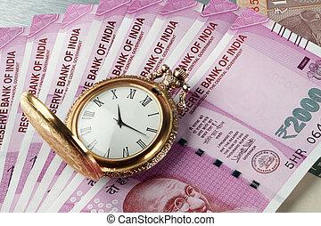 古董, 觀看, 貨幣, 印第安語, 時間, rupees, 新
