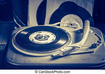 古董, 記錄, 留聲機, 乙烯基, 堆