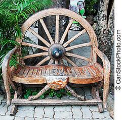 古董, 輪子, 做, 花園長凳, 車