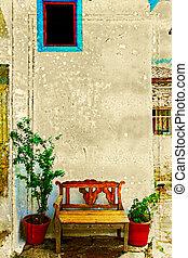 古董, 長凳, 針對, wall.