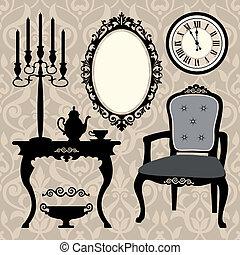 古董, 集合, 對象, 家具