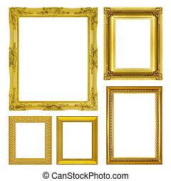 古董, 集合, 金, 框架, 被隔离, 背景, 白色