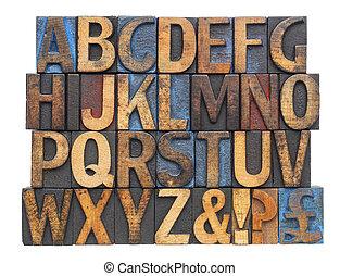 古董, 類型, 木頭, 字母表