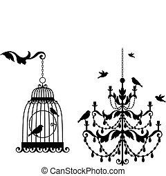 古董, birdcage, 枝形吊燈