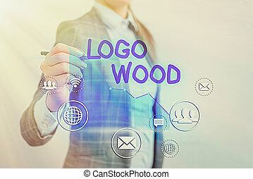可認識, 寫, 公司, 標識語, 顯示, 正文, 寫上, 概念性, 符號, wood., 手, 相片, 設計, 或者, 事務