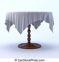 吃晚飯, 布, 桌子, 桌子。, 輪, 3d