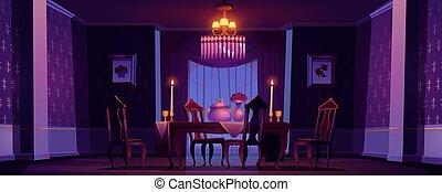 吃晚飯, victorian, 內部, 風格, 夜晚, 房間