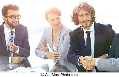 合伙人, 握手, 會議, 事務