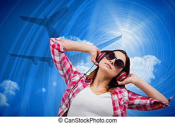合成物, 音樂, 暫存工, 黑發淺黑膚色女子, 圖像, 听