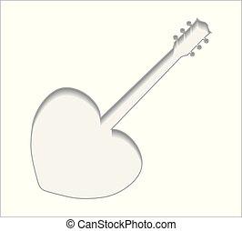 吉他, 心, 3d, 成形