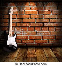 吉他, 房間, 電