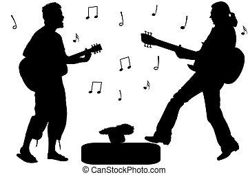 吉他, 星, 岩石