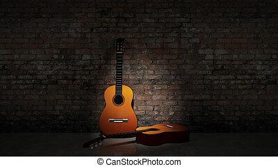 吉他, grungy, 聲學, w, 傾斜