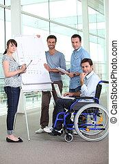 同事, 他的, 辦公室, 輪椅, 工作, 人