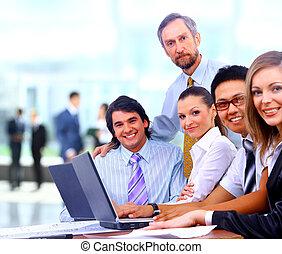 同事, 組, 辦公室, 事務, 一起, 會議, 愉快