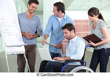 同事, 輪椅, 工作, 人