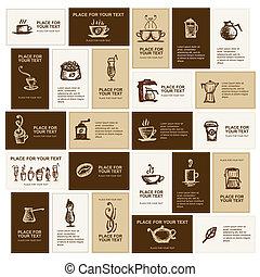 名片, 設計, 咖啡, 公司