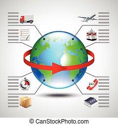 后勤學, 圖象, 全球, 箭, infographics, 地球, 紅色