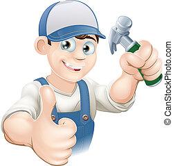 向上, 建造者, 拇指, 木匠, 或者