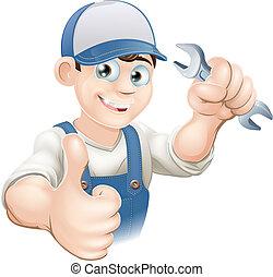 向上, 水暖工, 或者, 技工, 拇指