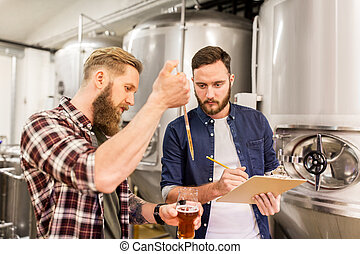 吸移管, 測試, 啤酒, 人, 啤酒廠, 工藝