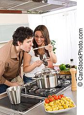 味覺, 夫婦, -, 食物, 烹調, 廚房, 人