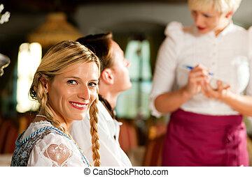 命令, bavarian, 拿, 女服務員, 餐館