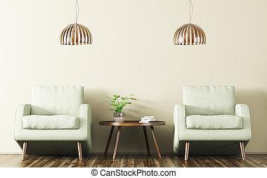 咖啡, 二, rendering, 桌子, 內部, 扶手椅子, 3d