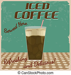 咖啡, 冰凍, 葡萄酒, 海報