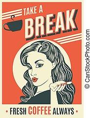 咖啡, 婦女, 藝術, 海報, 流行音樂, 做廣告, retro