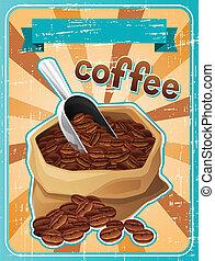 咖啡, 海報, 袋子, 豆, retro, style.