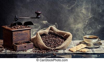 咖啡, 背景, 葡萄酒, 醞釀, 煙, 氣味