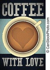 咖啡, poster., retro