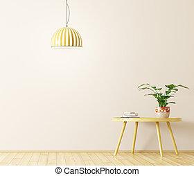 咖啡, rendering, 燈, 內部, 桌子, 3d