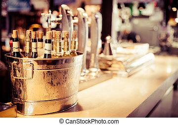 品嘗, 向上, 酒, 托盤, 集合, 瓶子, 裝飾, 酒吧, 餐館